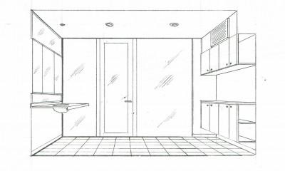スケッチ:化粧・脱衣室|眺望を楽しむ暮らし:ビルのリノベーション