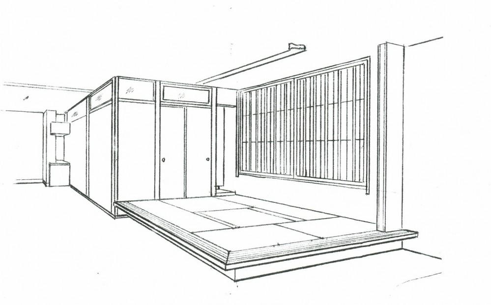 眺望を楽しむ暮らし:ビルのリノベーション (スケッチ:高床式和室(掘りごたつ組み込み))