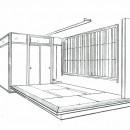 眺望を楽しむ暮らし:ビルのリノベーションの写真 スケッチ:高床式和室(掘りごたつ組み込み)