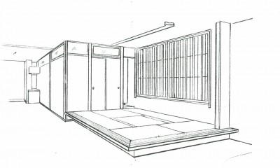 スケッチ:高床式和室(掘りごたつ組み込み)|眺望を楽しむ暮らし:ビルのリノベーション