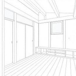 木造平屋建てバリアフリー住宅 (スケッチ:リビング)