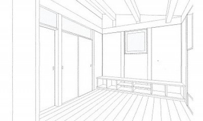 スケッチ:リビング|木造平屋建てバリアフリー住宅