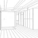 木造平屋建てバリアフリー住宅の写真 スケッチ:リビング・玄関ホール・玄関収納