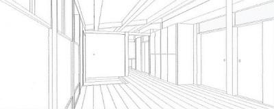 スケッチ:リビング・玄関ホール・玄関収納 (木造平屋建てバリアフリー住宅)