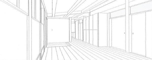 木造平屋建てバリアフリー住宅 (スケッチ:リビング・玄関ホール・玄関収納)