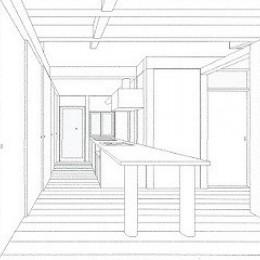 木造平屋建てバリアフリー住宅 (スケッチ:ダイニング~キッチン)