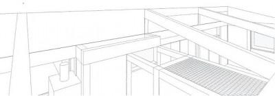 スケッチ:天井より見下げる (木造平屋建てバリアフリー住宅)