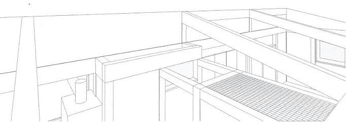 木造平屋建てバリアフリー住宅 (スケッチ:天井より見下げる)