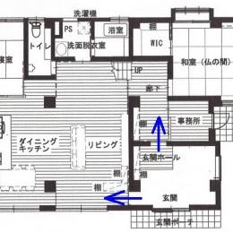 高齢を迎えるお母さま様の身を案じ、バリアフリー対策を施した住宅:コンクリート住宅の構造体を残した室内全面スケルトンリフォーム (図面)