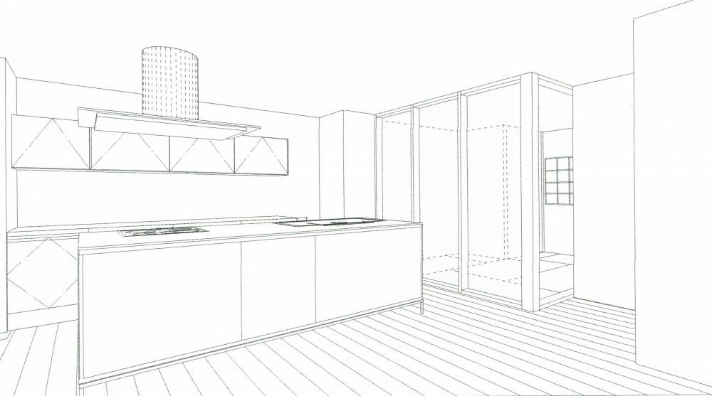 「バリアフリー」と「心地よさ」をかなえた シニア向けリフォーム:コンクリート住宅のリノベーション (スケッチ:ダイニングキッチン~寝室)