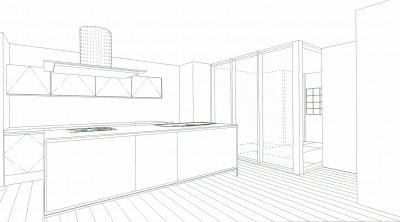 スケッチ:ダイニングキッチン~寝室 (「バリアフリー」と「心地よさ」をかなえた シニア向けリフォーム:コンクリート住宅のリノベーション)