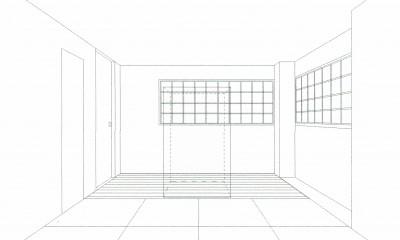 「バリアフリー」と「心地よさ」をかなえた シニア向けリフォーム:コンクリート住宅のリノベーション (スケッチ:和室(仏間室))