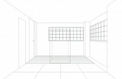 スケッチ:和室(仏間室) (「バリアフリー」と「心地よさ」をかなえた シニア向けリフォーム:コンクリート住宅のリノベーション)