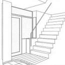 ホームエレベーターがあるバリアフリー住宅|遮音・防音構造の住宅(ガレージハウス)の写真 スケッチ:玄関
