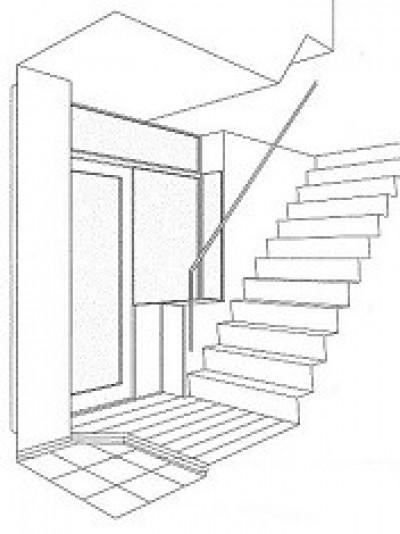 スケッチ:玄関 (ホームエレベーターがあるバリアフリー住宅|遮音・防音構造の住宅(ガレージハウス))