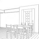 ホームエレベーターがあるバリアフリー住宅|遮音・防音構造の住宅(ガレージハウス)の写真 スケッチ:ダイニング~1階エレベーターホール