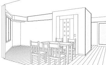 ホームエレベーターがあるバリアフリー住宅|遮音・防音構造の住宅(ガレージハウス) (スケッチ:ダイニング~1階エレベーターホール)