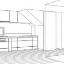 ホームエレベーターがあるバリアフリー住宅|遮音・防音構造の住宅(ガレージハウス)の写真 スケッチ:キッチン
