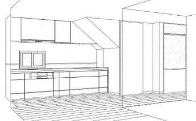 ホームエレベーターがあるバリアフリー住宅|遮音・防音構造の住宅(ガレージハウス) (スケッチ:キッチン)