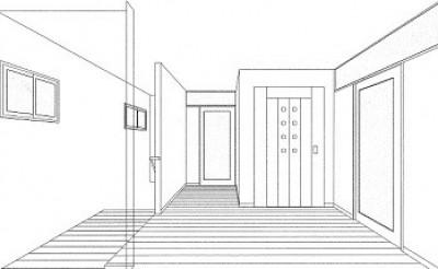 スケッチ:2階エレベーターホール (ホームエレベーターがあるバリアフリー住宅|遮音・防音構造の住宅(ガレージハウス))