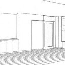 ホームエレベーターがあるバリアフリー住宅|遮音・防音構造の住宅(ガレージハウス)の写真 スケッチ:書斎