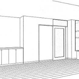 ホームエレベーターがあるバリアフリー住宅|遮音・防音構造の住宅(ガレージハウス) (スケッチ:書斎)