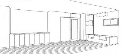 スケッチ:書斎 (ホームエレベーターがあるバリアフリー住宅|遮音・防音構造の住宅(ガレージハウス))
