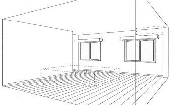 ホームエレベーターがあるバリアフリー住宅|遮音・防音構造の住宅(ガレージハウス) (スケッチ:寝室)