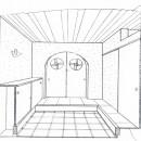 平屋に住まう:夫婦二人に ちょうどいいシンプルな住まいの写真 スケッチ:玄関ホール