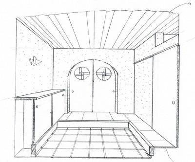 スケッチ:玄関ホール (平屋に住まう:夫婦二人に ちょうどいいシンプルな住まい)