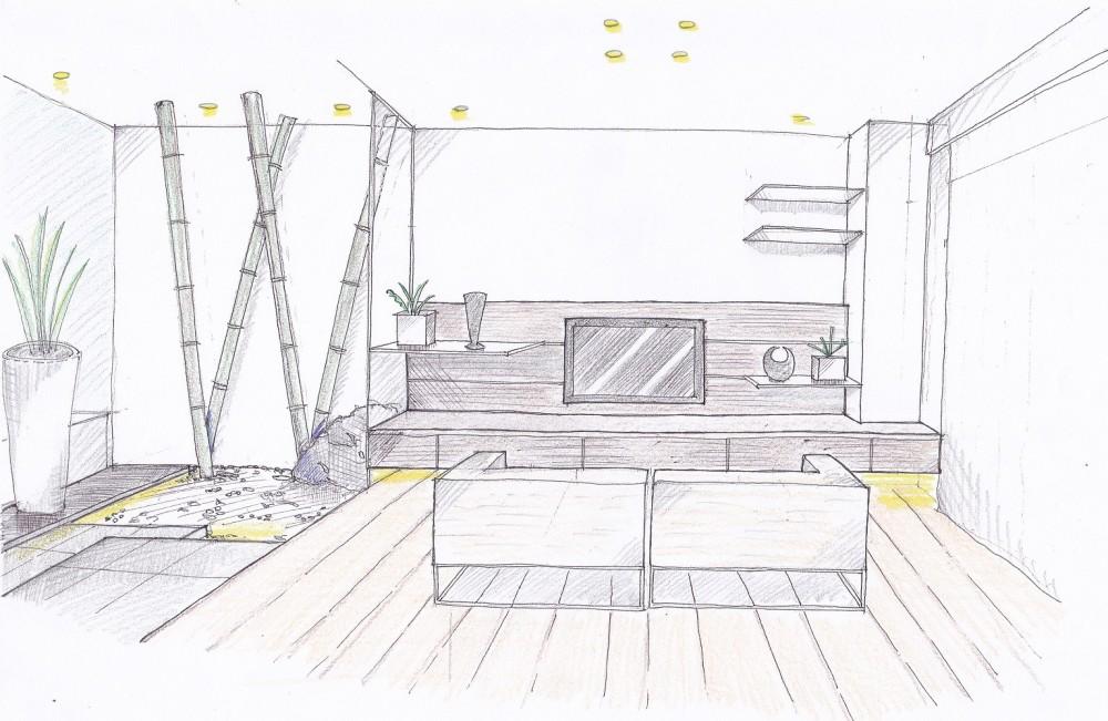 「石庭」のあるマンション リフォーム|大人の時間を楽しむ和モダンな家 (スケッチ:リビング~石庭)