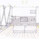 「石庭」のあるマンション リフォーム|大人の時間を楽しむ和モダンな家の写真 スケッチ:リビング~石庭