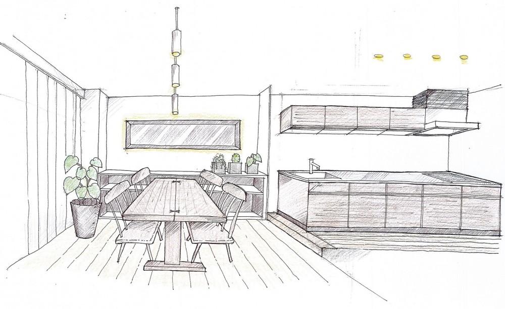 「石庭」のあるマンション リフォーム|大人の時間を楽しむ和モダンな家 (ダイニング~キッチン)