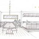 「石庭」のあるマンション リフォーム|大人の時間を楽しむ和モダンな家の写真 ダイニング~キッチン