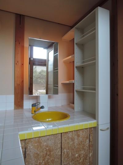 洗面・化粧台 (家族のびのび大空間:自然素材の家)