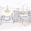 「カントリー調」のマンションリフォームの写真 スケッチ:リビング~ダイニング~キッチン