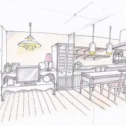 「カントリー調」のマンションリフォーム (スケッチ:リビング~ダイニング~キッチン)