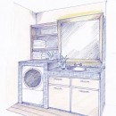 「カントリー調」のマンションリフォームの写真 スケッチ:サニタリー空間