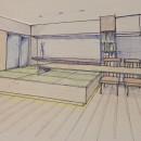 家族の変化に対応した『高床和室』を設けたマンション リフォームの写真 スケッチ:高床式和室