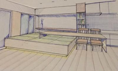 家族の変化に対応した『高床和室』を設けたマンション リフォーム (スケッチ:高床式和室)