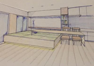 スケッチ:高床式和室 (家族の変化に対応した『高床和室』を設けたマンション リフォーム)