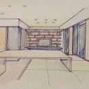 家族の変化に対応した『高床和室』を設けたマンション リフォームの写真 スケッチ:高床式和室よりリビングを観る