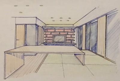 家族の変化に対応した『高床和室』を設けたマンション リフォーム (スケッチ:高床式和室よりリビングを観る)