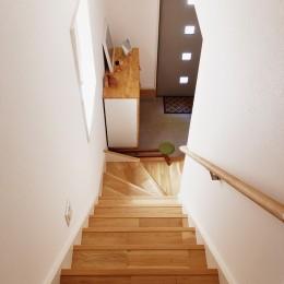 無垢材の様々な表情を楽しむ (階段)