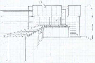 スケッチ:ダイニング~キッチン~洗面器~洗濯機 (店舗(自然派日用品)付き住宅のリフォーム)