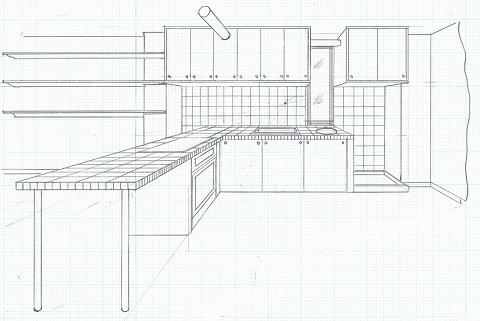 店舗(自然派日用品)付き住宅のリフォーム (スケッチ:ダイニング~キッチン~洗面器~洗濯機)