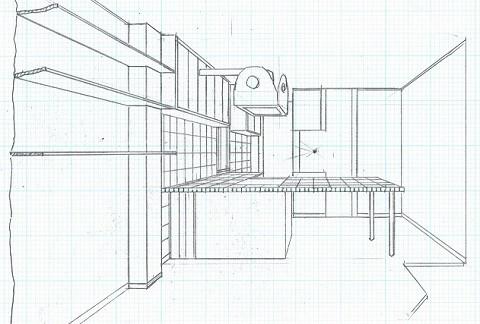 店舗(自然派日用品)付き住宅のリフォーム (スケッチ:リビングよりダイニングキッチン方向を観る)