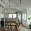 1階リビングから2階リビングへ変更、光と風を取り入れるやわらかなモノトーンの家(吹田の家リノベーション)の写真 ダイニングキッチン