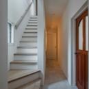 1階リビングから2階リビングへ変更、光と風を取り入れるやわらかなモノトーンの家(吹田の家リノベーション)の写真 階段