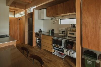 造作キッチン (収納家具にプラスαの機能を付けた収納をテーマにした家(野路の家))